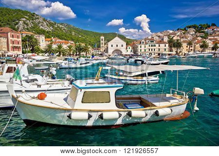 Turquoise waterfront of Hvar island in Dalmatia Croatia