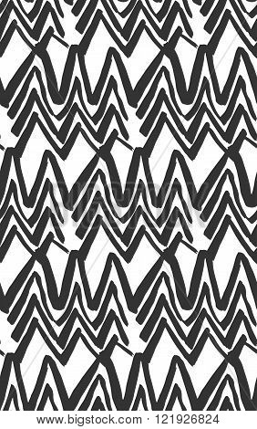 Vector  Ink Seamless Black And White Hand Painted Line Concentric Rhombus Shape Pattern Abstract Bac