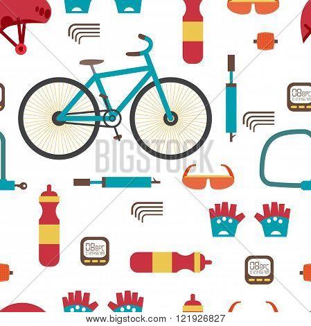 Seamless textile pattern with Mountain bike kit. Set riding bike