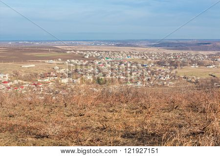 rural settlement ,landscape with moldavian village Izbeste