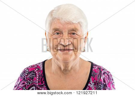 Smiling elderly woman with white hair