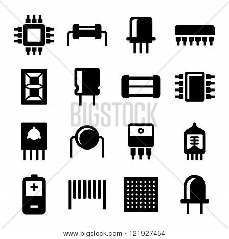 Electronic Components and Microchip Icons Set. Vector