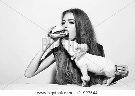 Girl Eating Burger With Pig