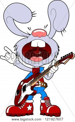 Bunny musician sings a popular song vector and illustration