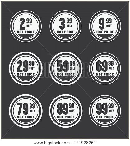 Set of  vector price badges. Hot price.