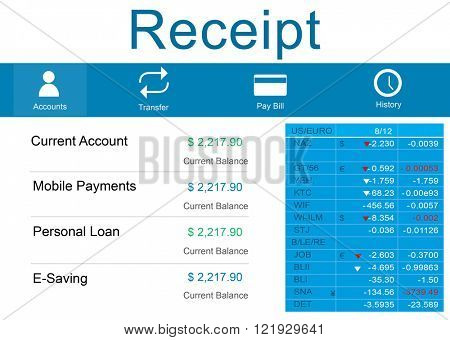 Receipt Bill Slip Price Record Balance Paper Cashier Concept