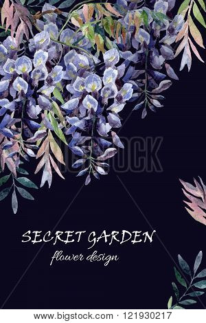 Wisteria flower. Watercolor wisteria card. Hand painted illustration on black background in retro style