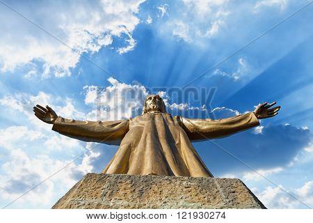 Tibidabo. Jesus Statue In Barcelona.