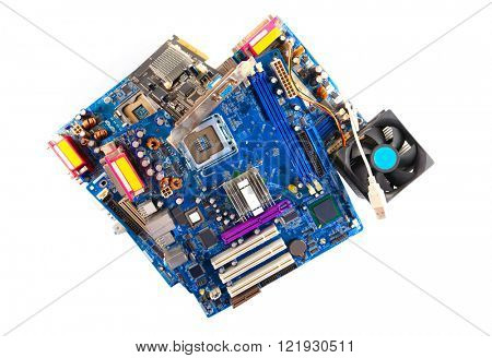 Computer motherboards with fan, isolated on white