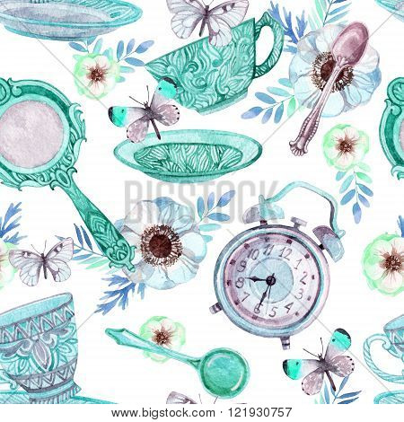 Watercolor tea seamless pattern. Watercolor tea cup background with spoon, mirror, alarm clock, flowers and butterfly. Tea crockery in victorian style. Hand painted  illustration for your design