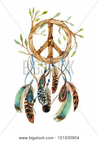 Dreamcatcher with feathers and peace sign. Watercolor ethnic dream catcher shaped in peace sign form. Peace sign and feathers. Hand painted illustration for your design