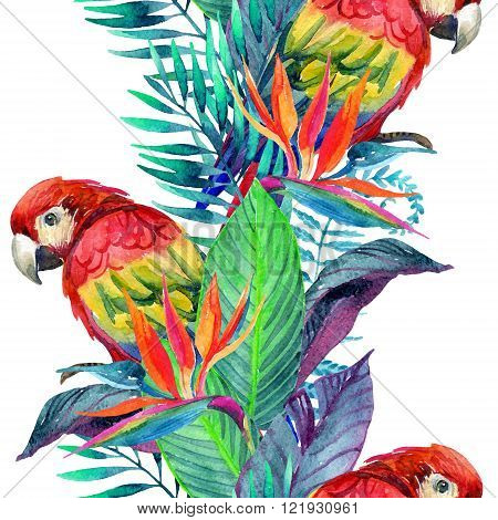 watercolor parrots with tropical flowers seamless pattern. Exotic background. Hand painted illustration of parrots in natural colors on white background