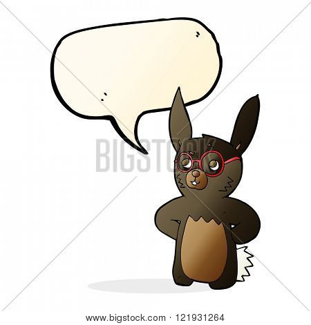 cartoon rabbit wearing spectacles with speech bubble