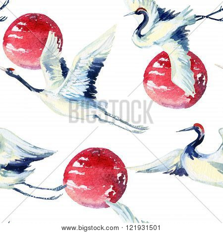 Watercolor asian crane bird seamless pattern. Hand painted traditional illustration on white background