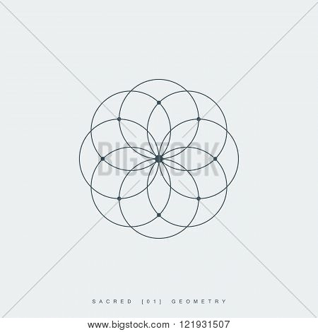 sacred geometry. lotus flower. mandala ornament. esoteric or spiritual symbol. isolated on white background. vector illustration