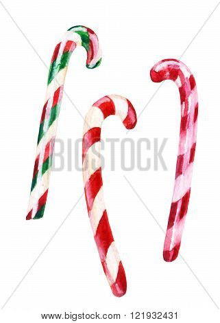 Watercolor candy cane set isolated on white background