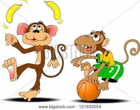 funny monkey juggling two yellow bananas vector