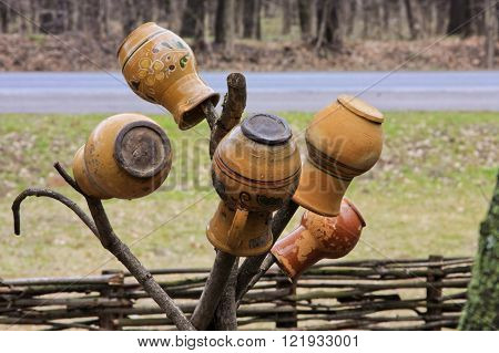 Traditional ukrainian crock pot. Beautiful ethnic object