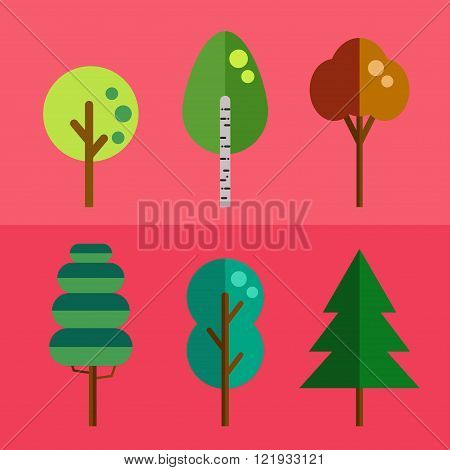Flat trees vector collection. Isolated, easy to recolor.