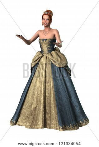 3D digital render of a beautiful fairytale princess isolated on white background