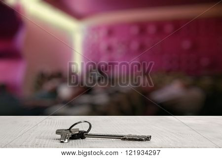 keys on white table in a night club