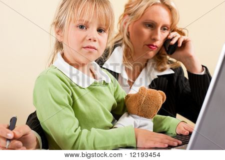 Family Business - telecommuter Businesswoman and mother having trouble  to concentrate on her work while the kid is trying to get some attention - metaphor for the lifestyle choices we all face