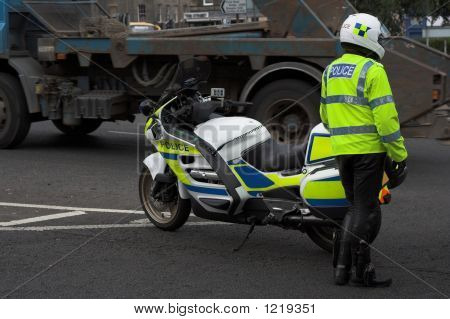 Police, Cop Next To Policebike