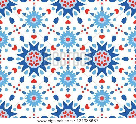 Blue Red Flowers and Hearts Pattern