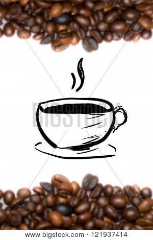 coffee background with roasted coffee beans and drawing cup of coffee