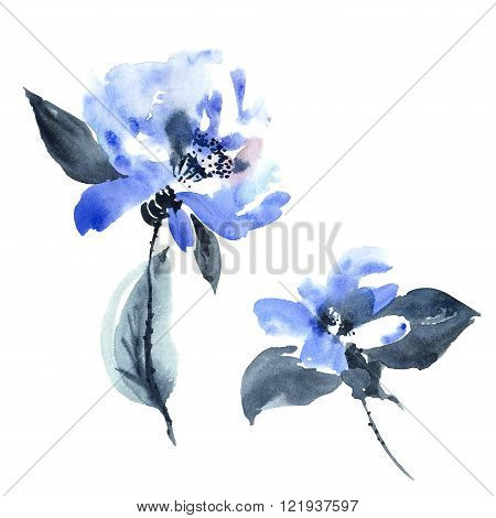 Watercolor and ink illustration of blue flowers in style sumi-e u-sin. Oriental traditional painting.