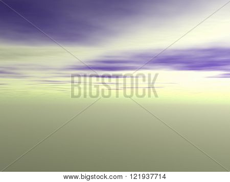 View of the sky with purple clouds and green environment. Without land and objects