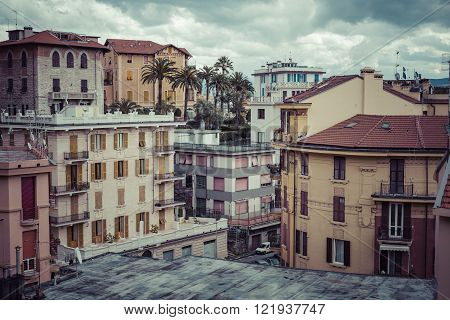 LA SPEZIA ITALY - MARCH 09 2016: The high narrow houses of La spezia city in northern italy