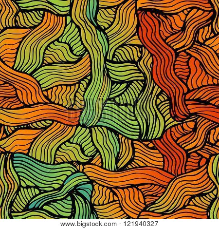 Vector abstract hand-drawn waves simless pattern