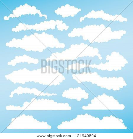 Set of fluffy clouds for design layouts. Vector