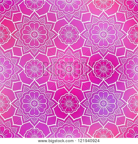 Seamless doodle flower pattern on shiny pink background