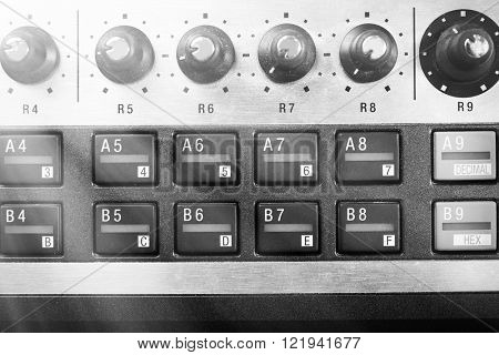 Buttons of synthesizer closeup