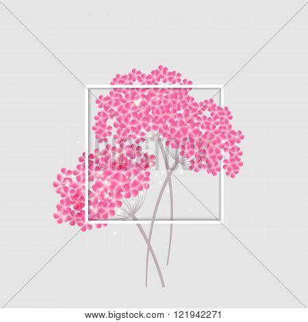 Invitation Card with beautiful flowers. Hortensia blossom.