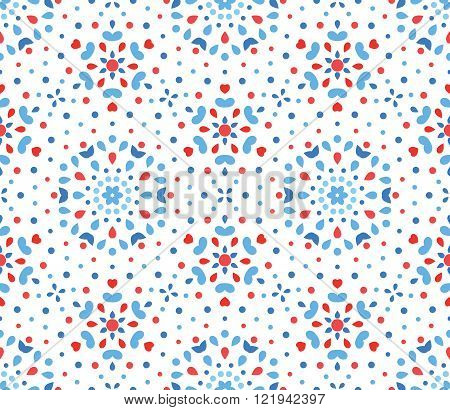 Small Blue and Red Flower Dots Pattern