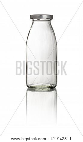 Empty Milk Bottle On A White Background