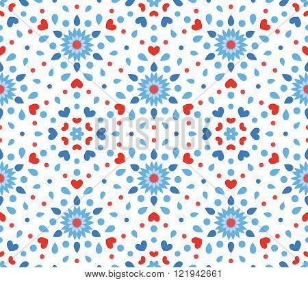 Small Blue and Red Flower Pattern