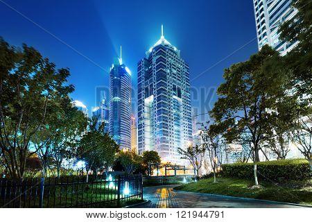 Shanghai Pudong New Area skyscrapers metropolis in April 2015.