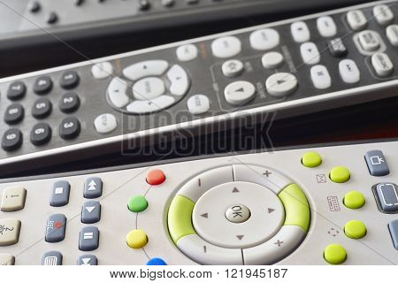 Different tv and hifi remote set control detail. Horizontal