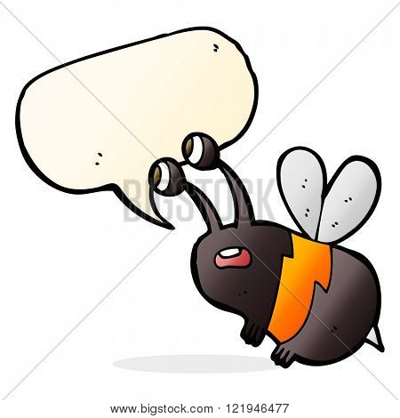 cartoon frightened bee with speech bubble