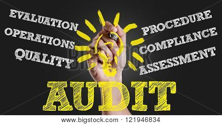 Hand writing the text: Audit