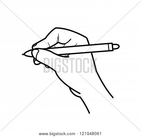 Hand Drawing Doodle, a hand drawn vector doodle illustration of a hand holding a ballpoint about to write/draw something.