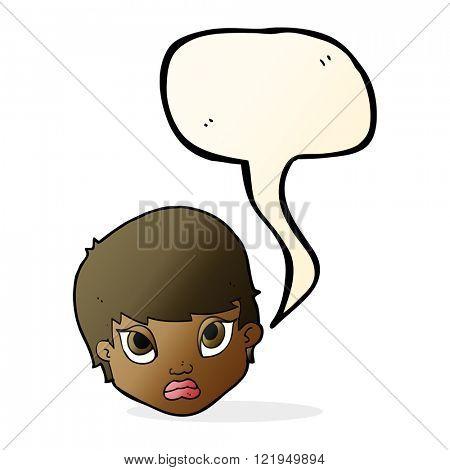 cartoon sulking woman with speech bubble