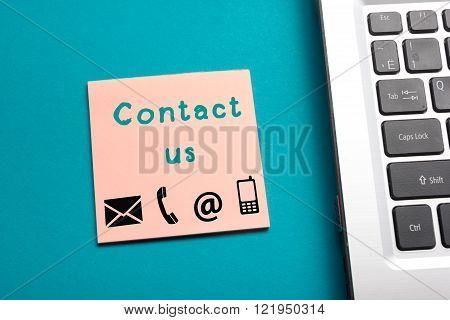 Website, Internet contact us page concept with laptop and reminder