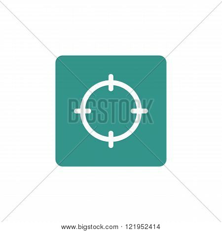 Aim Icon, On Green Rectangle Background, White Outline