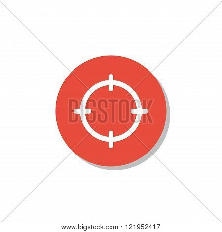 Aim Icon, On White Background, Red Circle Border, White Outline