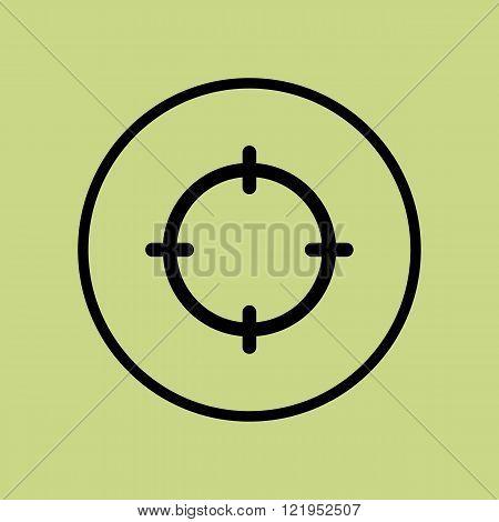 Aim Icon, On Green Background, Circle Border, Dark Outline
